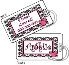 2 Laminated Luggage Tags Personalized Bag Tags by EllieBlueDesigns, $10.00