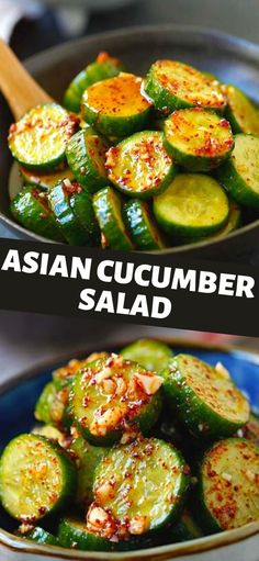 Asian Cucumber Salad, Cucumber Recipes, Vegetable Recipes, Vegetarian Recipes, Cooking Recipes, Healthy Recipes, Vegetarian Asian Recipes, Cucumber Ideas, Yummy Asian Food