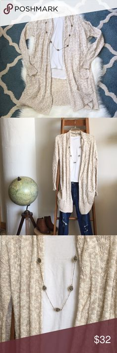 Express Long Open Front Oatmeal Duster Cardigan I always say you can never have too many oatmeal/tan/beige/cream colored sweaters. Something about them makes me feel instantly cozy!   NWOT ✂️ Express Sweaters