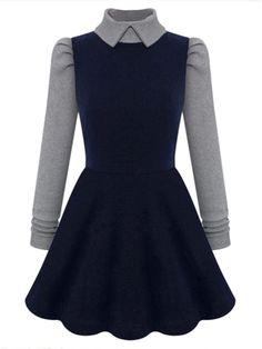 Dark Blue High Neck Long Sleeve Dress