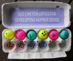 Boy Mama Teacher Mama Egg Carton Games for Developing Number Sense (pinned by Super Simple Songs) Math Activities For Kids, Easter Activities, Preschool Math, Math For Kids, Math Classroom, Kindergarten Math, Fun Math, Math Games, Classroom Activities