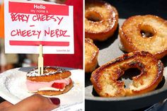 Berry Cheesy   Grilled cheese sandwich with fried krispy kreme donuts, strawberry cream cheese, queso fresco, and strawberries