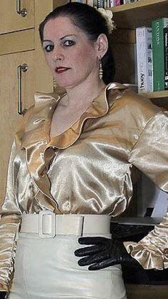 Satin Top, Silk Satin, Leather Skirt, Leather Jacket, Cute Blouses, Satin Blouses, Beautiful Blouses, Frocks, Chiffon
