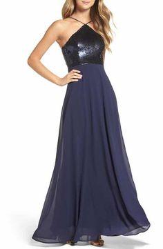 83d3996c2c4 Lulus Sequin Chiffon Gown Navy Blue Bridesmaid Dresses