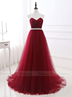 Cheap Strapless Burgundy Long Tulle Prom Dresses with Corset Back FD16 – Viniodress Women's Dresses, Dresses Short, Sweet 16 Dresses, Dresses For Teens, Formal Dresses, Formal Wear, Cheap Evening Dresses, Cheap Prom Dresses, Elegant Dresses
