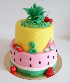 tutti frutti fondant cake birthday fruit