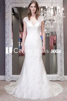 Trumpet V-Neck Cap-Sleeve Floor-Length Lace Wedding Dress With Appliques And Illusion Wedding Dresses For Sale, Princess Wedding Dresses, Modest Wedding Dresses, Boho Wedding Dress, Boho Dress, Bridal Dresses, Reception Dresses, Backless Wedding, Mermaid Wedding