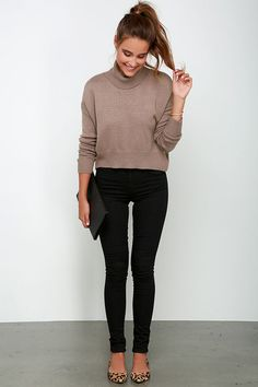 Sure As the Wind Blows Brown Crop Sweater