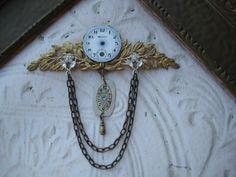 Steampunk Brooch blue RARE blue ANTIQUE porcelain pocket watch face pin 1920 wristwatch art deco. $59.00, via Etsy.
