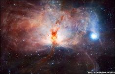 "The first images have been revealed from a telescope that can map the sky much faster and deeper than any other. The Vista (Visible and Infrared Survey Telescope for Astronomy) is dedicated to mapping the sky in infrared light. Spectacular images, including some of the centre of our Milky Way, show, astronomers say, that the UK-designed telescope is working ""extremely well"". This image shows a spectacular star-forming region, the Flame Nebula."