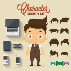 Character with complements Free Vector