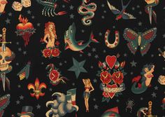 Tattoo fabric!  Never done an apron like this . . . should I?