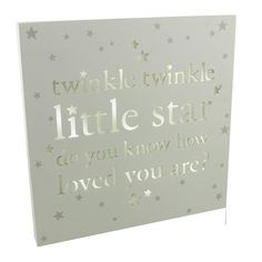 "Unique Light Up Square ""Twinkle Twinkle Little Star"" Baby Plaque By Haysom Interiors. Beautiful cream wooden baby plaque by Haysom Interiors. A great gift to give someone with a new born baby or expecting. Complete with a unique light up feature for the text and stars to shine through. The text reads: ""twinkle twinkle little star do you know how loved you are?"". Overall plaque dimensions are approximately: 10"" tall x 10"" wide. Requires 2x AA batteries which are not included."
