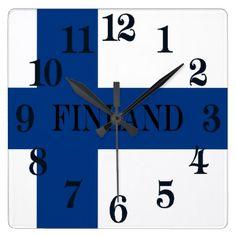 Flag of Finland Blue Cross Flag Square Wall Clock - blue gifts style giftidea diy cyo Cross Flag, Blue Cross, Finland, Clock, Display, Wall, Prints, Design, Diy