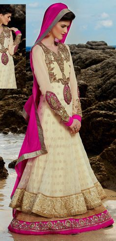 USD 144.25 Cream Georgette Layered Pakistani Salwar Kameez 36460