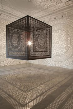 Intricate Shadows Formed with Single Light Bulb Inside Laced Cube - My Modern Met