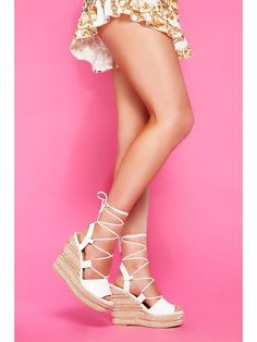 d7e682b888a  79 White PU Lace Up Wedge Sandals - Quiz Clothing Lace Up Wedge Sandals