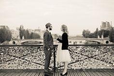 Lauren and Brett paris vintage wedding  Pont des Arts love locks bridge  Hair and makeup : Lexi DeRock   Photography : Julian Berry