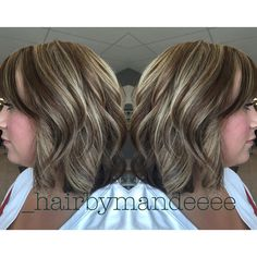 Dimensional Foiled color, haircut & style. #redken #redkencolor #styleyourstory #unitehair #olaplex #curlyhair #bobhair #shorthair #dimensionalhair #foils #behindthechair #cilantrohairspa #hairbymandeeee
