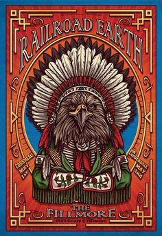 Original concert poster for Railroad Earth at The Fillmore in San Francisco, CA. 13