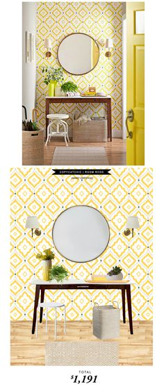 A sunny entryway featured in Better Homes and Gardens recreated for only $1191 by @audreycdyer  #Copycatcatchicroomredo #roomredo