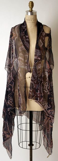 Punk Stole, Zandra Rhodes, 1977, black print silk, pearl-beads, Dimensions: 45 x 45 in.