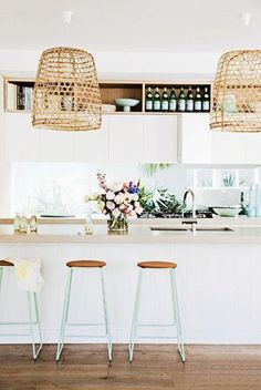 Kitchen décor inspiration | Island style décor | Earthy neutrals teamed with pastel décor accents | Wicker pendant lighting ♥ visit www.wishtank.co.za for more home décor ideas and inspiration