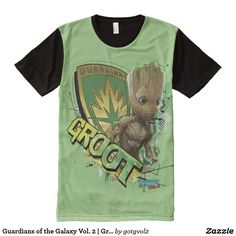 Guardians of the Galaxy Vol. 2 | Groot With Badge. T-Shirt. Producto disponible en tienda Zazzle. Vestuario, moda. Product available in Zazzle store. Fashion wardrobe. Regalos, Gifts. Trendy tshirt. #camiseta #tshirt