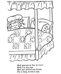The night before christmas coloring pages while visions for The night before christmas coloring pages