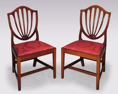 A Set Of 6 Late 18th Century Hepplewhite Period Mahogany Shield Back Dining  Chairs Having