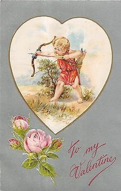 Valentine Greetings Pink Rose And Cherub With Bow And Arrow Antique PC V13393