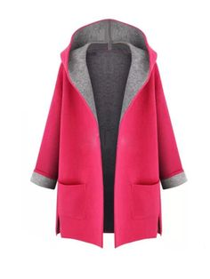 Contrast Color Hooded Collar Long Sleeve Knit Cardigan