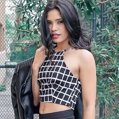 PRINTED GRID TOP Black and white sleeveless halter crop top with zipper open back  92% Polyester 8% Spandex Style Link Miami Tops