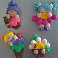 Imagens Cute Polymer Clay, Polymer Clay Dolls, Polymer Clay Projects, Polymer Clay Creations, Clay Magnets, Diy And Crafts, Crafts For Kids, Clay Baby, Clay Figurine
