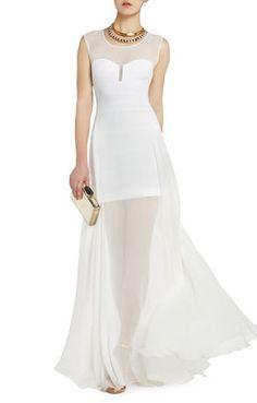 White Semi-Sheer Chiffon Mesh Alai Evening Maxi Dress Gown @ BCBG $500 CUTE