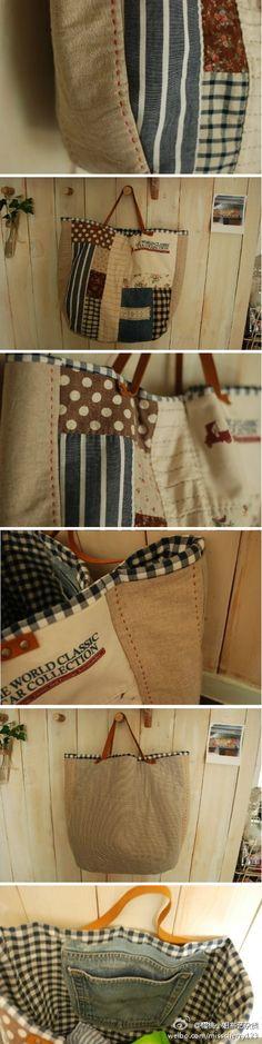 Bona idea: aprofitar butxaques d'uns pantalons per fer compartiments interiors d'una bossa!