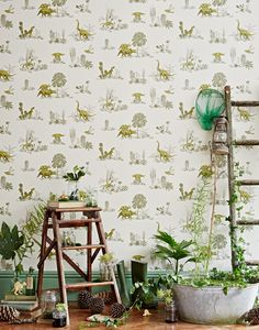 Dino Wallpaper-Yellow Green - This Dino wallpaper with tropical plants and mischievous Dinos will inspire all nature loving kids and kid adults alike. The wallpaper was printed in England on paper from sustainable forests. Green Wallpaper, More Wallpaper, Wallpaper Samples, Wallpaper Roll, Luxury Wallpaper, Dinosaur Wallpaper, All Nature, Cactus Y Suculentas, Decorate Your Room