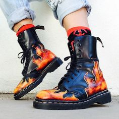 75349112ce3 Extremelly rare vintage 90 s Tredair fire flames leather combat boots. Size  6. Depop