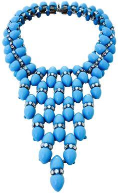 William de Lillo - Collier 'Triangle' - Perles Façon Turquoise et Strass - 1974