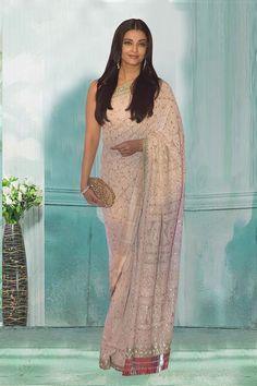 Khadi Saree, Georgette Sarees, Bollywood Saree, Bollywood Fashion, Party Fashion, Fashion Outfits, Elegant Saree, Aishwarya Rai, Party Wear Sarees