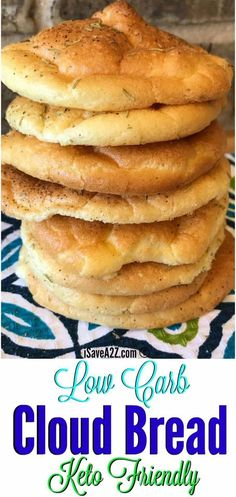 EASY Low carb cloud bread recipe made with baking powder. Tasty and will keep you on track for that low carb cloud bread you are craving. Tasty and worth trying! Keto Foods, Ketogenic Recipes, Keto Snacks, Low Carb Recipes, Bread Recipes, Ketogenic Diet, Pizza Snacks, Vegetarian Recipes, Ketogenic Breakfast