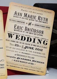 Vintage type wedding invitations from Royal Steamline http://vendors.offbeatbride.com/listing/royal-steamline