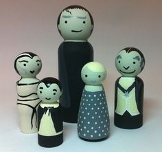 Munsters family peg people - black & white from giddygirlie