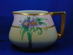 "Bernardaud & Co. (B&Co.) Limoges Arts & Crafts Floral Motif Cider Pitcher (Signed ""L. Ardrey""/c.1900-1914)"