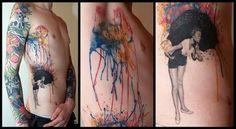 water colour/pinup umbrella tattoo