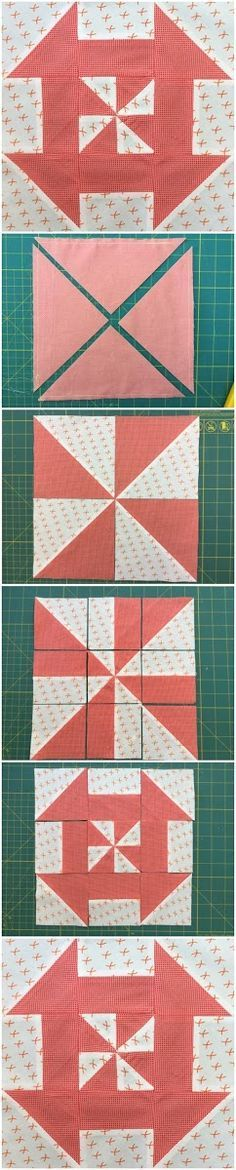 How to make a disappearing pinwheel block Learn how to make this block in less than 2 minutes. Materials Two 9 3/8 inch squares in contrasting fabrics Block siz