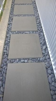 Rain Forest 1 in. to 3 in. Mexican Beach Pebbles RFMBP at The Home Depot - Mobile. This is for the side walk in front of the house. Fill in with grass not stones Side Yard Landscaping, Backyard Patio Designs, Landscaping With Rocks, Outdoor Landscaping, Landscaping Ideas, Pavers Ideas, Pergola Ideas, Backyard Pavers, Gravel Walkway