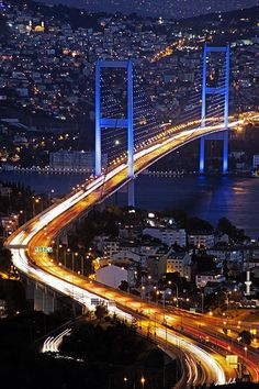 The Bosphorus Bridge, Istanbul, Turkey. Visited Istanbul with my wife while on Mediterranean cruise in July 2010 Beautiful Places To Visit, Cool Places To Visit, Wonderful Places, Places To Travel, The Places Youll Go, Travel Destinations, Places Around The World, Around The Worlds, Bosphorus Bridge