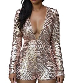 Shawhuwa Womens Sexy Sequin V Neck Long Sleeves Romper Playsuit Clubwear M A-rose gold  Special Offer: $28.90  188 Reviews It is very easy and comfortable to wear. Unique design make you charming and keep you looking sexy. This amazing jumpsuits is perfect all year-round for any...