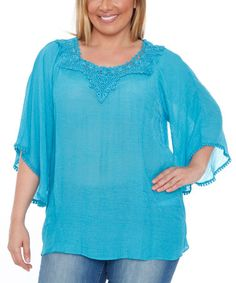 Look what I found on #zulily! Teal Crochet Anabel Bell-Sleeve Tunic - Plus #zulilyfinds